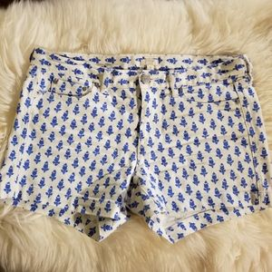 JCrew Shorts White Denim Blue Abstract Floral 8